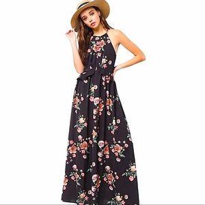 Very J black floral maxi dress size small
